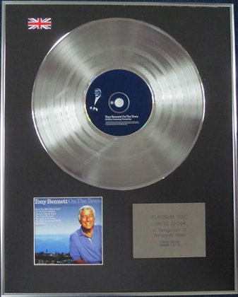 TONY BENNETT - Limited Edition CD Platinum Disc - ON THE TOWN