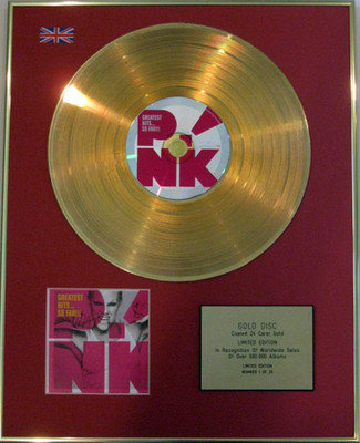 PINK - Limited Edition 24 Carat CD Gold Disc - GREATEST HITS SO FAR