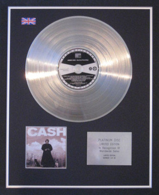 JOHNNY CASH - Limited Edition CD Platinum Disc - AMERICAN RECORDINGS