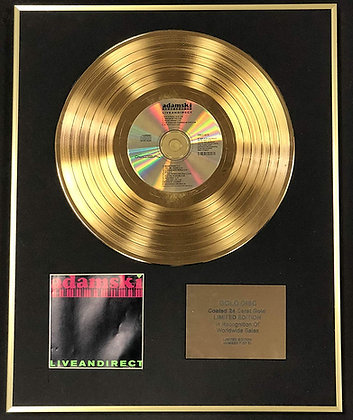 Adamski - Exclusive Limited Edition 24 Carat Gold Disc - Live And Direct
