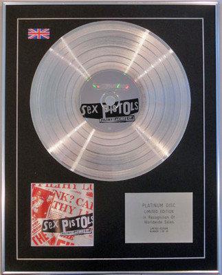 SEX PISTOLS  - Ltd Edition CD Platinum Disc - FILTHY LUCRE LIVE