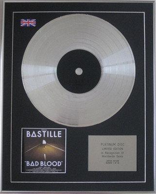 """BASTILLE - Limited Edition CD Platinum Disc - """"BAD BLOOD"""""""