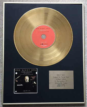 BARBRA STREISAND - Exclusive Limited Edition 24 Carat Gold Disc - at the VILLAGE