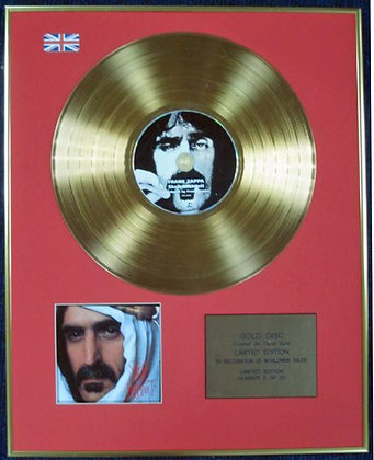 FRANK ZAPPA - Ltd Edition CD 24 Carat Coated Gold Disc - SHEIK YERBOUTI