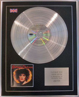 BARBARA DICKSON - Limited Edition CD Platinum Disc -  THE VERY BEST OF