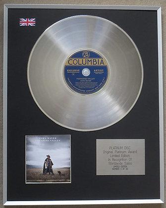 JOHN MAYER – Limited Edition CD Platinum Disc – PARADISE VALLEY