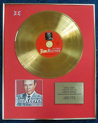 Jim Reeves- Limited Edition CD 24 Carat Gold Coated LP Disc -Love Letters