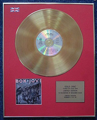 Bon Jovi - Limited Edition CD 24 Carat Gold Coated  Disc - Slippery When Wet