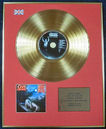 OZZY OSBOURNE - Ltd Edition CD 24 Carat Coated Gold Disc - BARK AT THE MOON
