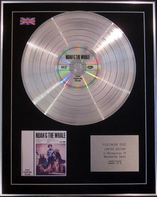 NOAH & THE WHALE  - Limited Edition CD Platinum Disc -  LAST NIGHT ON EARTH