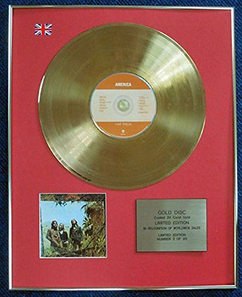 America - Limited Edition CD 24 Carat Gold Coated LP Disc - Hat Trick