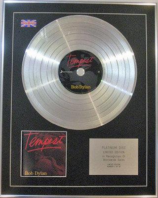 BOB DYLAN - Limited Edition CD Platinum Disc - TEMPEST