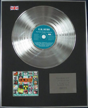 U.K. SUBS - Limited Edition CD Platinum Disc -T HE PUNK SINGLES COLLECTION