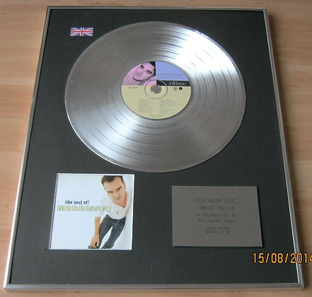 MORRISSEY (of the SMITHS) CD Platinum Disc- THE BEST OF MORRISSEY