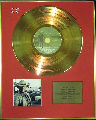 JASON ALDEAN - Ltd Edition CD 24 Carat Coated Gold Disc - NIGHT TRAIN