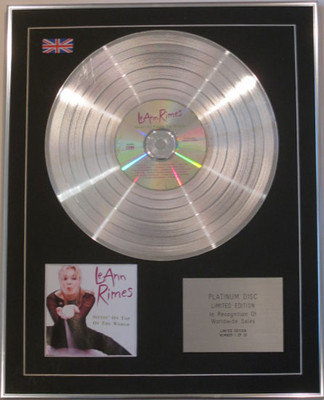 LeANN RIMES  - Limited Edition CD Platinum Disc - SITTIN' ON TOP OF THE WORLD