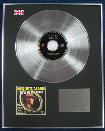 DON WILLIAMS - Limited Edition CD Platinum Disc - YOUR MY BEST FRIEND