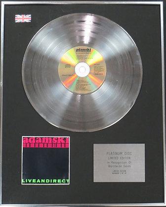 ADAMSKI - Limited Edition CD Platinum Disc - LIVE AND DIRECT