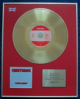 Montrose - Limited Edition CD 24 Carat Gold Coated LP Disc - Paper Money