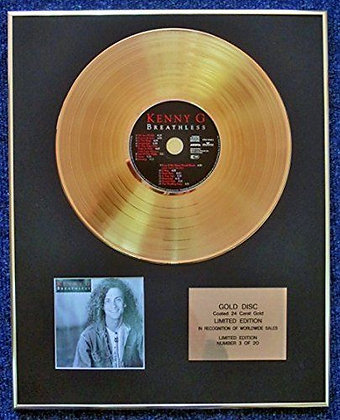 Kenny G - Limited Edition CD 24 Carat Gold Coated LP Disc - Breathless