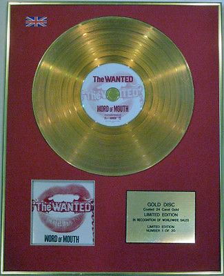 THE WANTED - Limited Edition CD  24 Carat Gold Disc - WORD OF MOUTH
