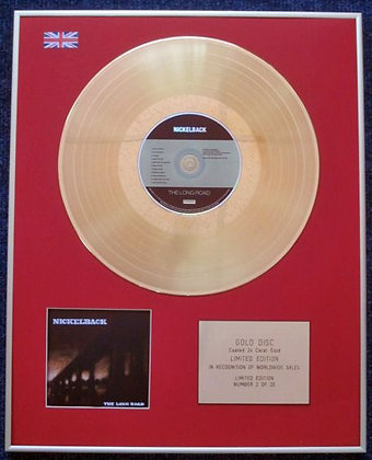NICKELBACK - Limited Edition CD 24 Carat Gold Coated LP Disc - THE LONG ROAD