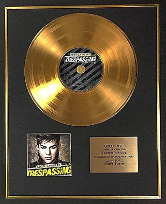 Adam Lambert - Exclusive Limited Edition 24 Carat Gold Disc - Trespassing