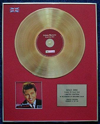 Johnny Burnette - 24 Carat Gold Coated LP Disc - Roses are Red