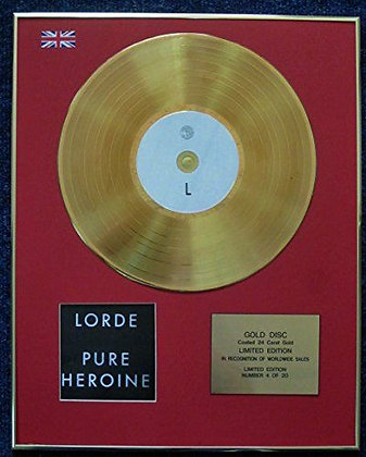 Lorde - Limited Edition CD 24 Carat Gold Coated LP Disc - Pure Heroine