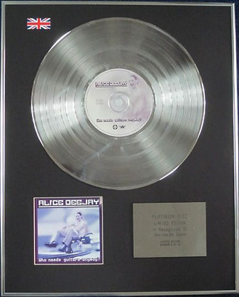 ALICE DEEJAY - Limited Edition CD Platinum Disc - WHO NEEDS GUITARS ANYWAY