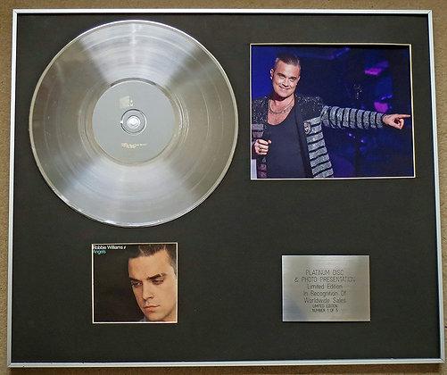 ROBBIE WILLIAMS - Platinum Disc CD Single + Photo - ANGELS