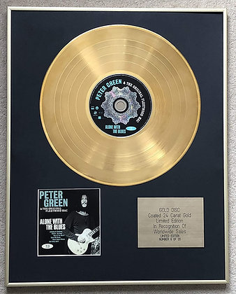 PETER GREEN - Limited Edition CD 24 Carat Gold Coated LP Disc - ALONE WITH THE B