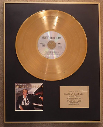 RICHARD CLAYDERMAN - Exclusive Limited Edition 24 Carat Gold Disc - THE VERY BES