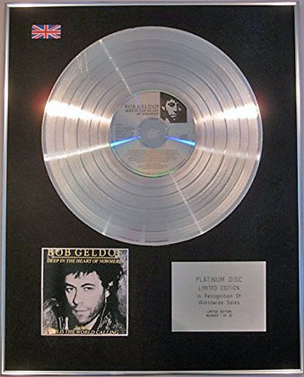 BOB GELDOF - Limited Edition CD Platinum Disc - DEEP IN THE HEART