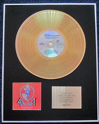 42ND STREET - CD 24 Carat Gold Coated LP Disc - BROADWAY CAST RECORDING
