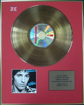 BRUCE SPRINGSTEEN - Ltd Edition CD 24 Carat Coated Gold Disc - THE RIVER