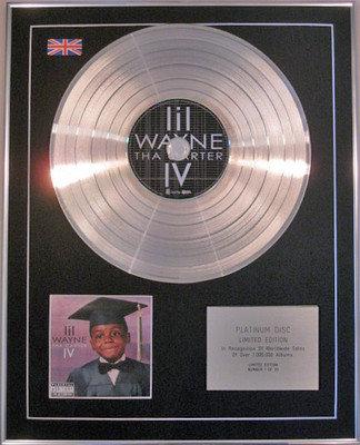 LIL WAYNE - Limited Edition CD Platinum Disc -  THA CARTER IV