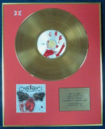 PAPA ROACH - Ltd Edition CD 24 Carat Coated Gold Disc - GETTING AWAY WITH MURDER