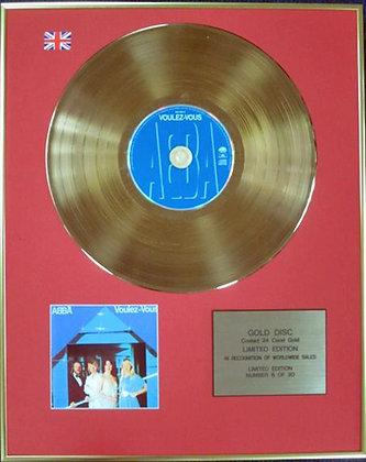 ABBA - Ltd Edition CD 24 Carat Coated Gold Disc - VOULEZ-VOUS