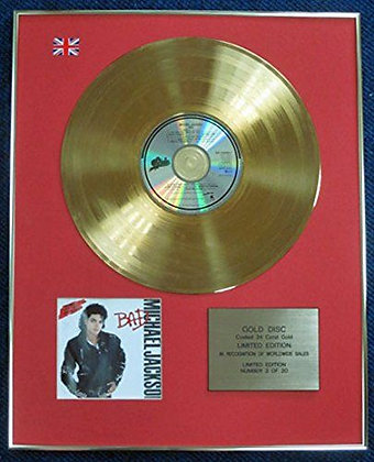 Michael Jackson- Limited Edition CD 24 Carat Gold Coated LP Disc - Bad