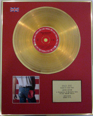 BRUCE SPRINGSTEEN - Limited Edition 24 Carat CD Gold Disc - BORN IN THE  U.S.A