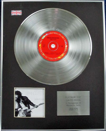 BRUCE SPRINGSTEEN - Limited Edition CD Platinum Disc - BORN TO RUN