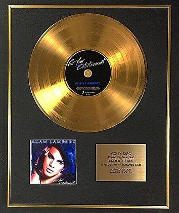 Adam Lambert - Exclusive Limited Edition 24 Carat Gold Disc - Entertainment