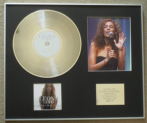 LEONA LEWIS - Platinum Disc CD Single + Photo - BLEEDING LOVE