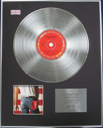 BRUCE SPRINGSTEEN - Limited Edition CD Platinum Disc - BORN IN THE USA