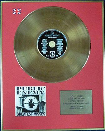 PUBLIC ENEMY - Ltd Edition CD 24 Carat Coated Gold Disc - GREATEST MISSES
