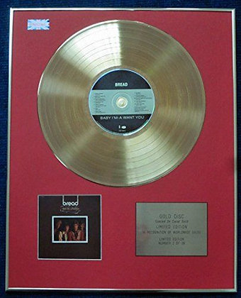 Bread - Limited Edition CD 24 Carat Gold Coated LP Disc - Baby I'm-a Want You