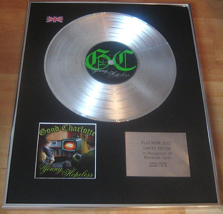 GOOD CHARLOTTE -  Limited Edition CD Platinum Disc - THE YOUNG AND THE HOPELESS