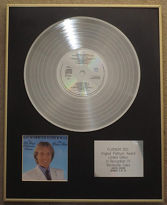 RICHARD CLAYDERMAN - Limited Edition CD Platinum LP Disc - CLASSIC -with RPO