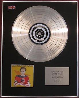 RAGE AGAINST THE MACHINE - Limited Edition  CD Platinum Disc - EVIL EMPIRE